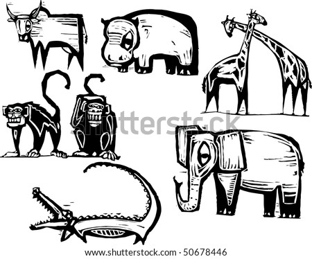 African Animal Group in a woodcut style