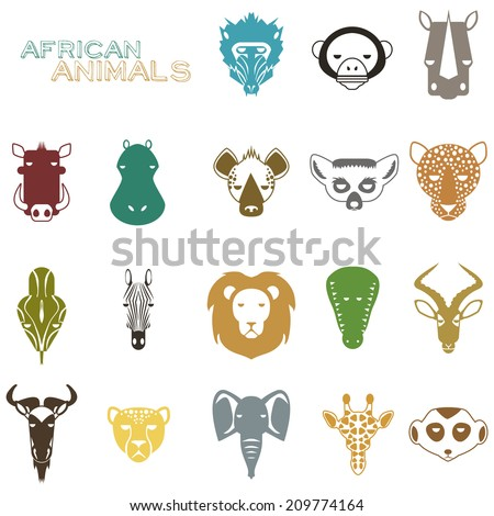 African Animal Icons Portrait Set with Flat Design - stock vector