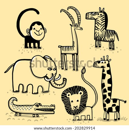 African animals - stock vector