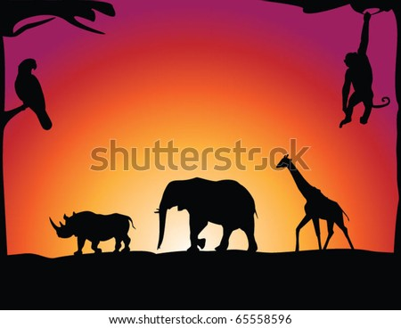 African animals - stock vector