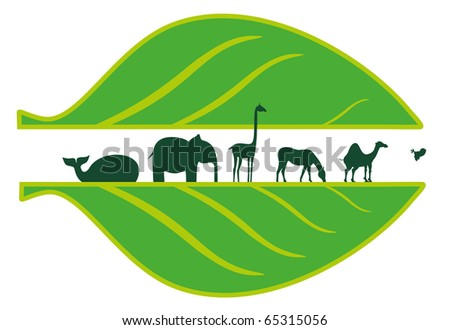 African animals and green leaf - stock vector