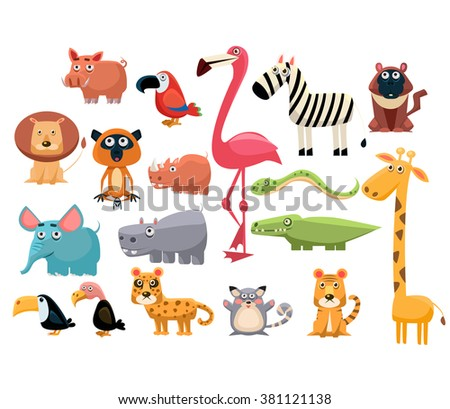 African Animals big set. Vector Illustration Collection - stock vector