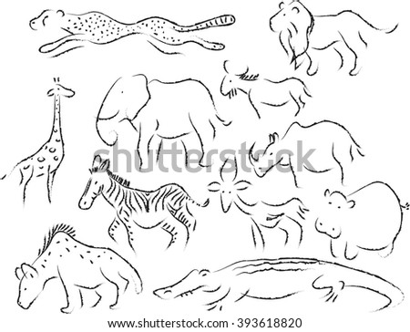 African animals hand drawn - stock vector