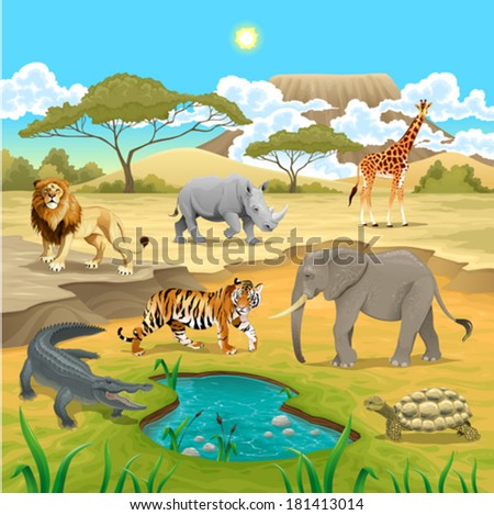 African animals in the nature. Vector illustration - stock vector