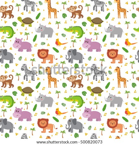 African animals seamless pattern. Cute cartoon childish animals. Jungle or zoo themed background. Vector illustration