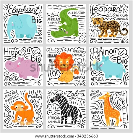 African animals set isolated on white background: elephant,  lion, rhino, giraffe,alligator, hippo, monkey, zebra,buffalo, hippo, leopard.  African animals background. - stock vector