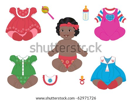 african baby-girl with set of clothes - stock vector