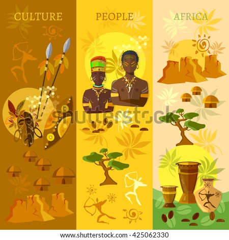 African banner Africa culture and traditions people tribe vector illustration - stock vector