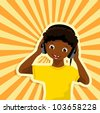 african boy with headphones listening to music - vector illustration - stock vector