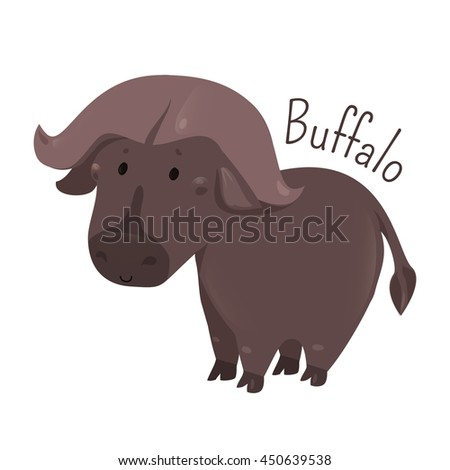 African buffalo isolated. Cape. Syncerus caffer. Large bovine from Africa. Horns have fused bases. Sticker for kids. Part of series of cartoon savannah animal species. Child fun pattern icon. Vector - stock vector