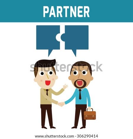 african businessman shaking hand caucasian Businessmanand talking.bubble jigsaw. partner.business concept.flat icons vector cartoon design.illustration. - stock vector