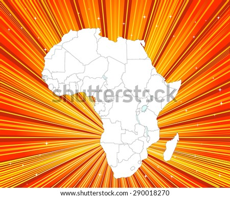 African Continent - Detailed Map with Captivating Background - stock vector