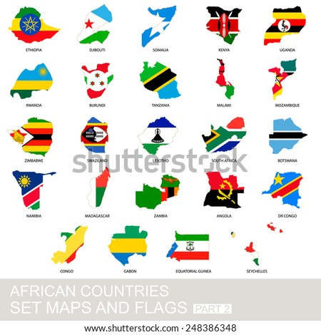 African countries set, maps and flags, part 2 - stock vector
