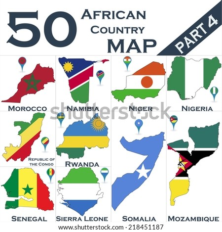 African country set with map pointers - Part 4