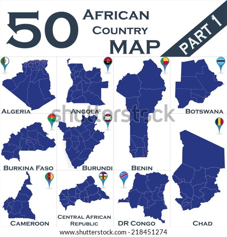 African country set with map pointers - Part 1 - stock vector