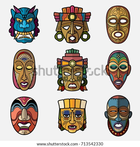 African Craft Voodoo Tribal Mask Inca Stock Vector Royalty Free