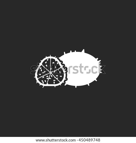 African Cucumis kiwano fruit sign simple icon on background - stock vector