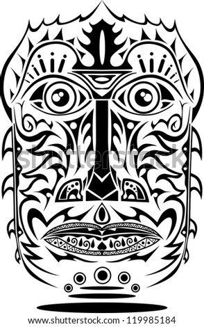 african decorative mask - stock vector