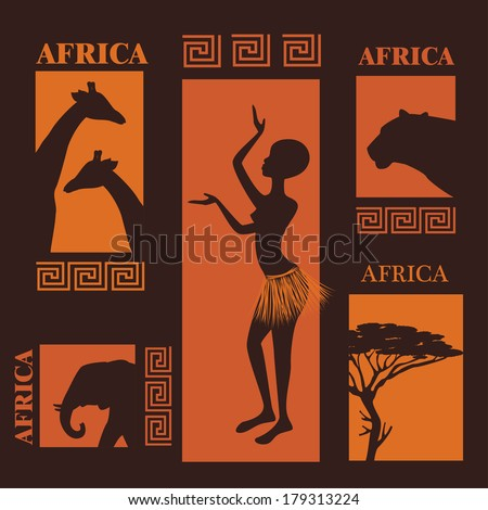 African design. Collection of silhouettes. Beautiful ethnic woman, African tree and wild animals - stock vector