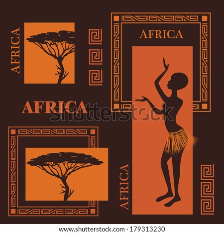 African design. Collection of silhouettes. Beautiful ethnic woman and  African tree - stock vector