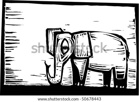 African elephant in woodcut style in border. - stock vector