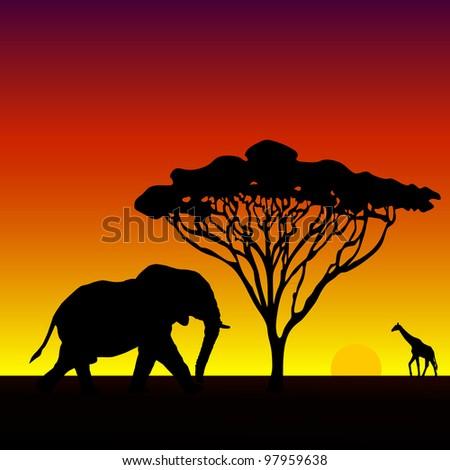 African Elephant Safari Scene Vector Illustration - stock vector