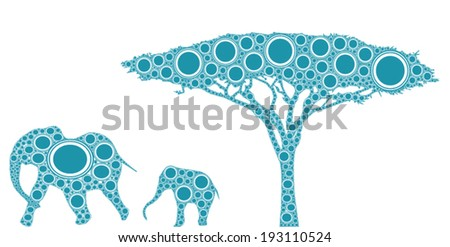 african elephants and tree a mother and child elephant are walking by a tree in an abstract African landscape composed with blue and white circles.  - stock vector