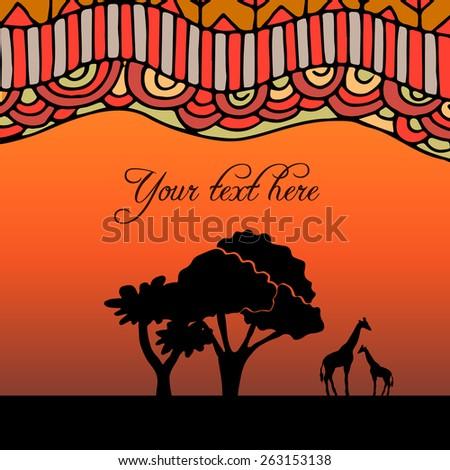 African ethnic background on evening savanna  - stock vector