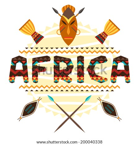 African ethnic background with geometric ornament and symbols. - stock vector