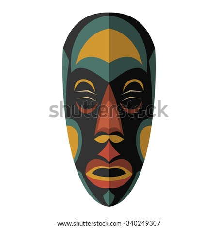 African Ethnic Tribal mask on white background. Flat icon. Ritual symbol.