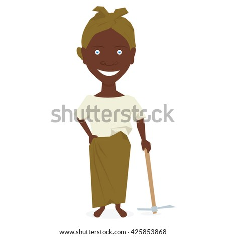 African farmer woman. Vector illustration isolated on white background