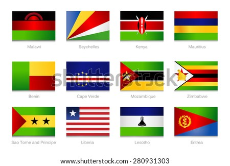 African Flags. Collection part 4. Vector illustration.