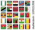 African Flags Square Icons - stock photo