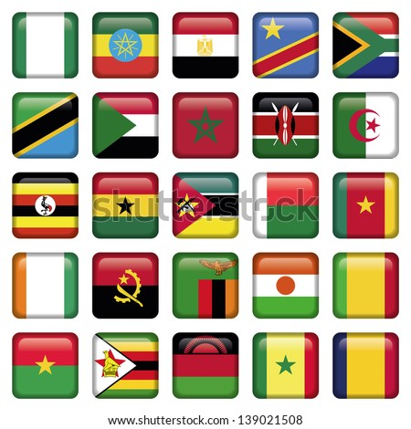 African Flags Square Icons - stock vector