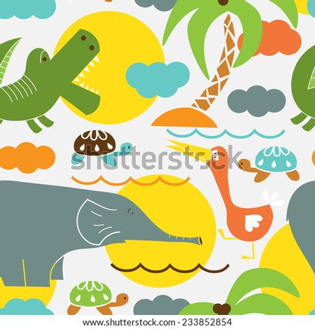 African funny animals seamless pattern. Kids background - stock vector
