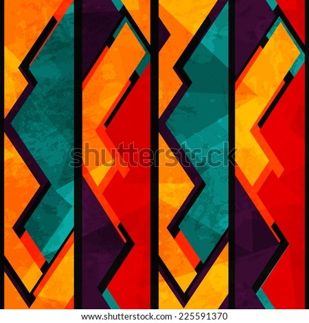 african geometric seamless pattern with grunge effect - stock vector