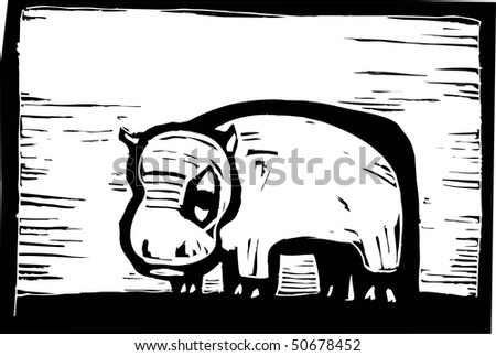 African hippo in woodcut style in border. - stock vector