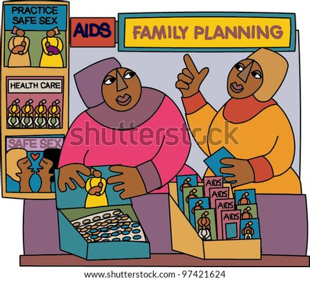 African inspired artwork featuring African women promoting prevention of HIV/AIDS - stock vector