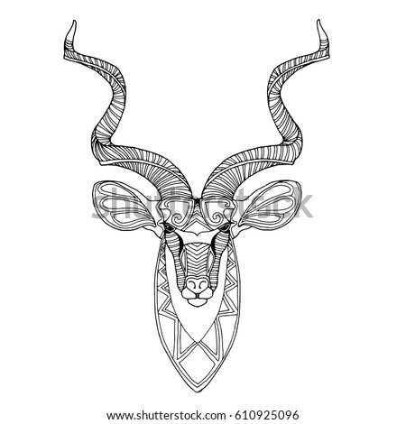 Good African Kudu Antelope, Unusual Animal Zentangle Vector Design, Page For  Adult Colouring Book