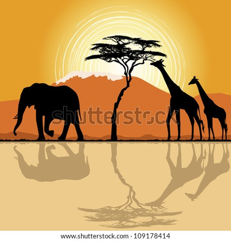 African landscape  in sunset time with giraffes and elephant. - stock vector