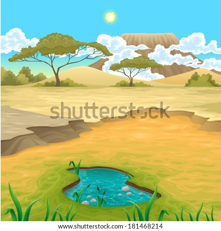 African landscape. Vector natural illustration - stock vector