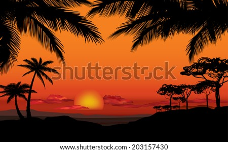 African landscape with palm trees silhouette. Savanna sunset background. - stock vector