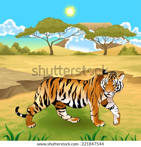 African landscape with tiger. Vector illustration.  - stock vector