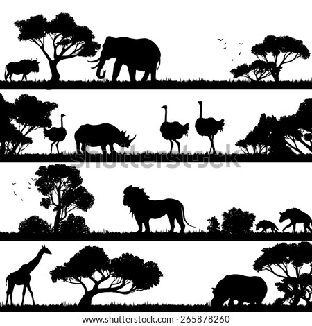 African landscape with trees and wild animals black silhouettes vector illustration - stock vector