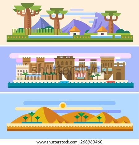 African landscapes: Savannah, houses, mountains, baobabs, desert, sun, sand, pyramids, palm trees, city, sea, boats. Background for site or game. Vector flat illustrations - stock vector
