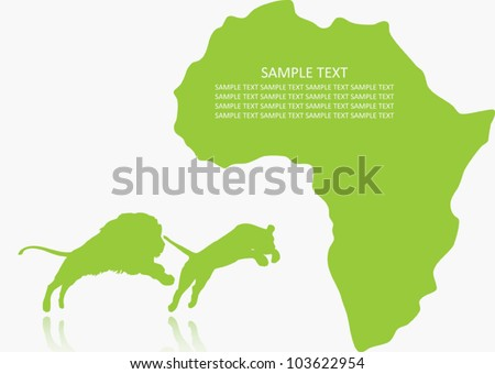 African lion couple - vector background - stock vector