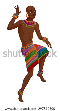 African man takes ethnic ritual dance in national costume - stock vector