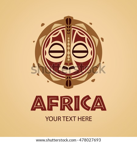 african mask logo template vector illustration