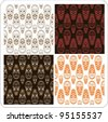 African Mask Seamless Texture Background  4 Variations vector illustration - stock photo