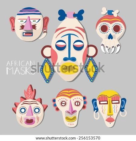 African masks set. illustration. - stock vector